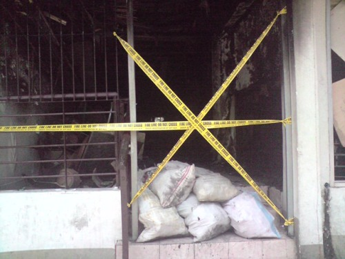 the charred remains of Chiggy's Makati