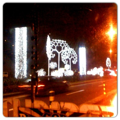Festive lights along Ayala Avenue.