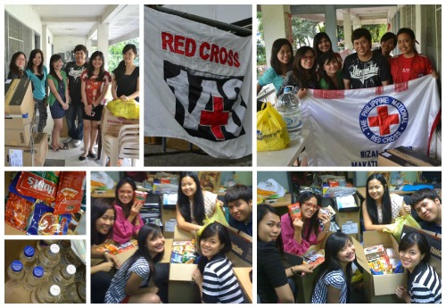 The gorgeous girls preparing the goods and handing them off to the Philippine Red Cross.