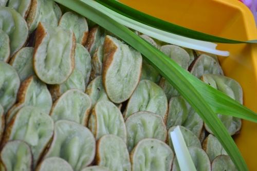 Pandan-infused sticky rice cake
