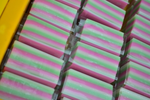 Colorful-striped glutinous rice cake
