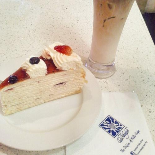 Strawberry Mille Crepe for dessert after breakfast.