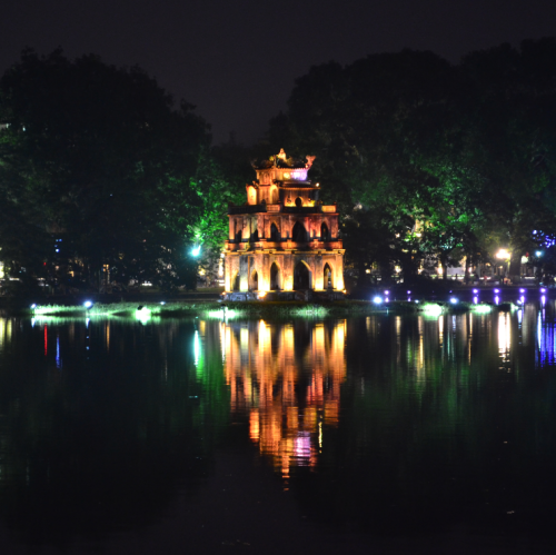 Just when you think you've seen enough of Hoan Kiem Lake, visit at night and be mesmerized. Locals and tourists abound the side of the lake to jog, eat, date, take photos, or just sit and take in the beauty of the place.