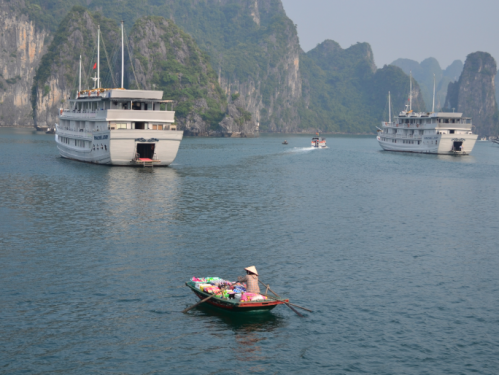 The local vendors make for an interesting addition to the Halong Bay scenery. They sell chips, cigarettes and sweets.