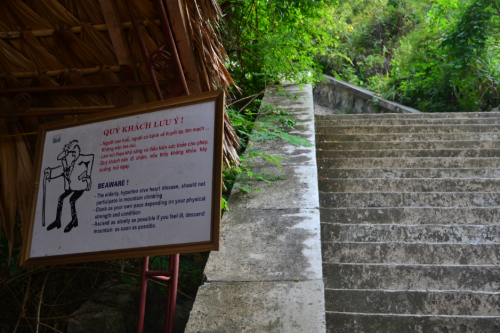 It's a 400+ steps up this hill and while the sign discourages older people from hiking, I still found some elderly couples heading up the cemented steps.