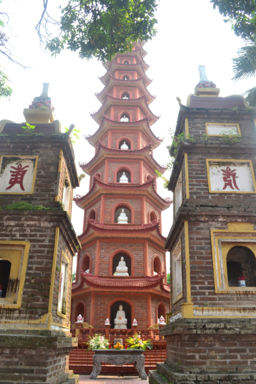 Two of the ten shrines flanking the Tran Quoc Pagoda.